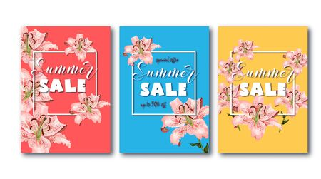Summer sale flyers set with coral oriental lily flowers, white square frame and promo text.