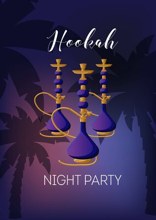 Hookah night party poster template with hookah, text, palm trees on dark sky sunset background.