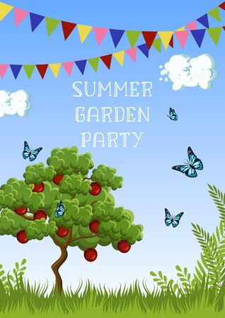 Summer Garden Party poster with apple tree, grass, butterflies, clouds, sky, flags and text. Stock Illustratie