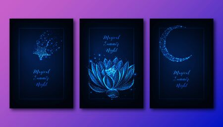 Magical summer night concept with glowing low poly star, lotus flower, moon and text on dark blue.