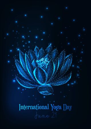 International yoga day poster template with glowing low polygonal water lily, lotus flower.