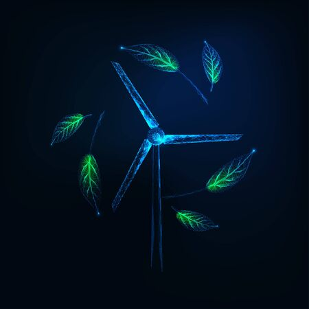 Futuristic sustainable energy concept with glowing low poly wind turbine generator and green leaves