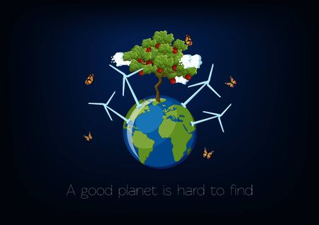 World Environment Day poster with planet Earth globe, green apple tree, wind turbines, clouds and flying butterflies on dark blue background.