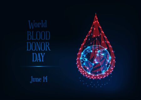 World blood donor day web banner with glowing low poly blood drop and planet earth globe and text . Ilustracja