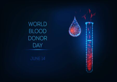 World blood donor day banner with glowing low poly test tube and blood drop on dark blue background. Ilustracja