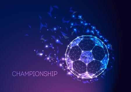 Football championship concept with futuristic soccer ball on dark blue purple gradient background. Ilustração
