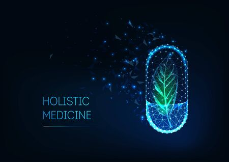 Holistic medicine concept with glowing futuristic low polygonal capsule pill and green leaf.