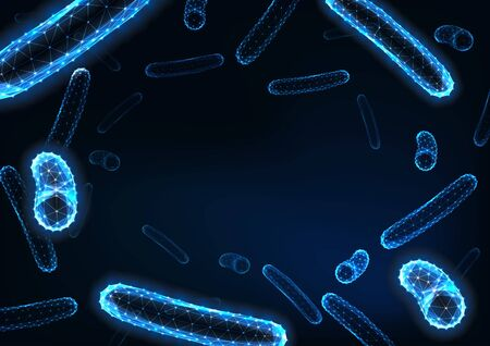 Futuristic low polygonal bacteria bacilli background with space for text on dark blue.