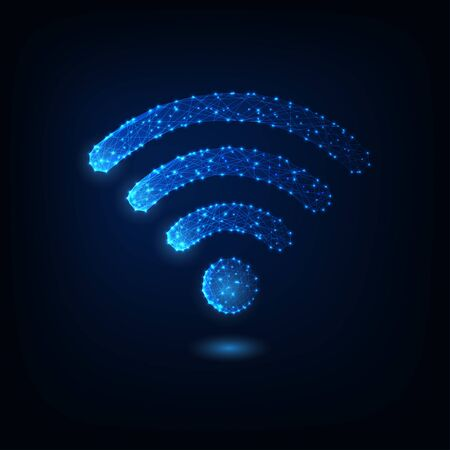 Futuristic glowing low polygonal wifi symbol isolated on dark blue background.