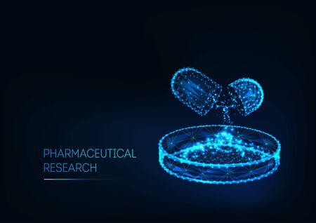Farmaceutisch onderzoeksconcept met medicijnpil en petrischaal en tekst geïsoleerd op donkerblauw.