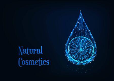 Futuristic glowing low polygonal essential oil drop with lemon slice on dark blue background. Ilustração