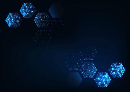 Futuristic scientific hexagonal dark blue background with space for text. Ilustracja