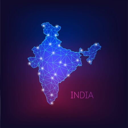 Futuristic glowing low polygonal India map silhouette isolated on dark blue to purple background.