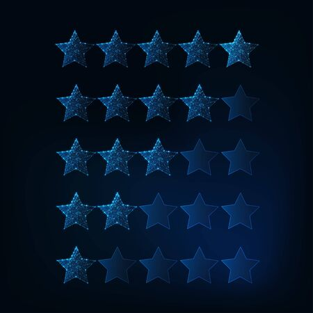 One to five stars rating system. Futuristic glowing low polygonal stars.