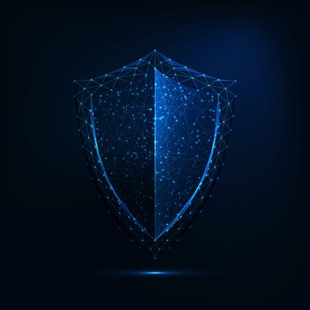 Futuristic glowing low polygonal guard shield symbol isolated on dark blue background.