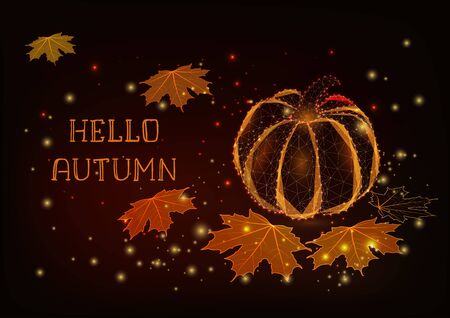 Hello Autumn greeting card template with glowing pumpkin, maple leaves, stars.