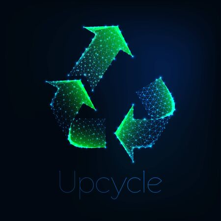 Futuristic glowing low polygonal green upcycle symbol isolated on dark blue background.
