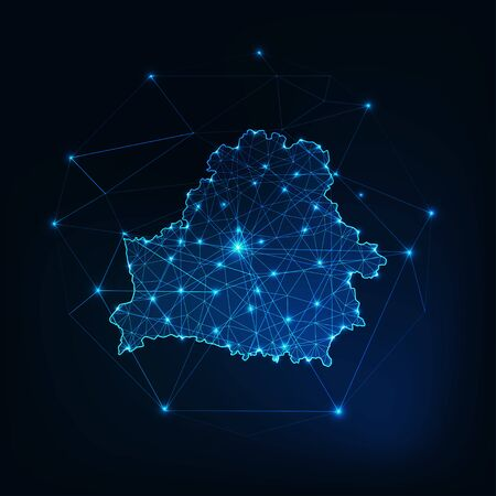 Belarus glowing network map outline. Communication, connection concept. Иллюстрация