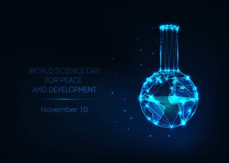 World science day for peace and development banner with laboratory beaker and earth map. Ilustracja