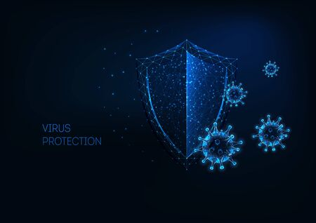 Futuristic virus protection concept with glowing low polygonal shield and virus cells.