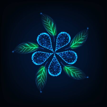 Futuristic glowing low poly flower and green leaves made of lines, dots, stars, triangles. Иллюстрация
