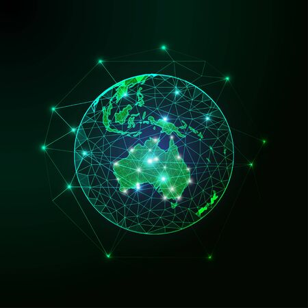 Futuristic green Australia map continent on planet Earth view from space abstract background. 向量圖像
