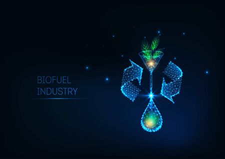 Futuristic biofuel industry concept with glowing low polygonal green leaves, funnel, and oil drop.