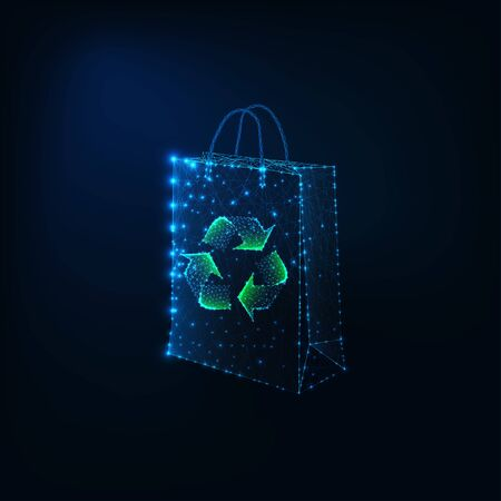 Futuristic eco shopping concept with glowing low polygonal paper shopping bag and recycle sign.