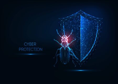 Internet security, cyber protection concept with futuristic glowing low polygonal bug and shield. Ilustrace