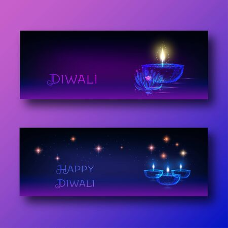 Happy diwali web banners with futuristic glowing oil lamp diya, lotus flower and text.