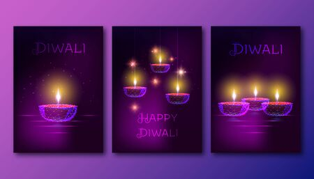 Happy diwali posters with futuristic glowing low polygonal oil lamp diya on dark purple background. 일러스트