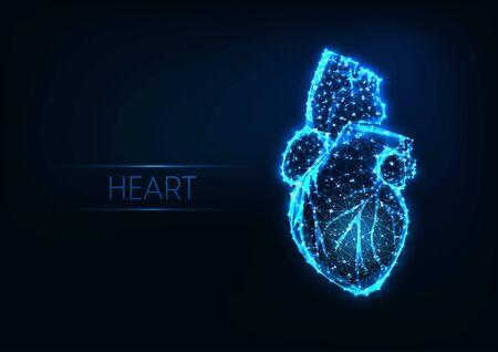 Coeur humain polygonal bas rougeoyant futuriste isolé sur fond bleu foncé. Vecteurs