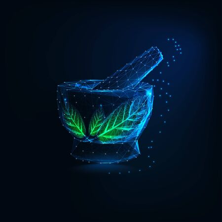 Futuristic glowing low polygonal mortar and pestle with green leaves. Herbal pharmacy logo.