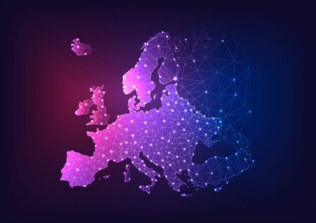Futuristic glowing low polygonal Europe continent map on dark blue and purple background. Ilustração