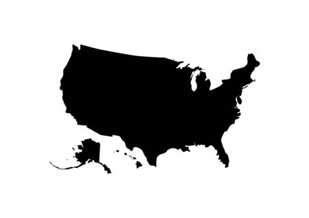 United States of America contour map outline in black isolated on white background.