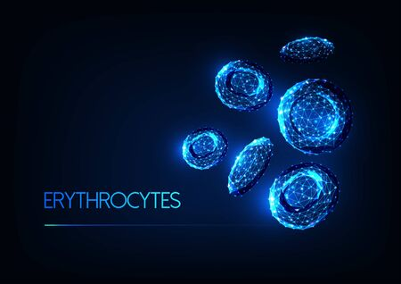 Futuristic glowing low polygonal red blood cells erythrocytes isolated on dark blue background. Illustration