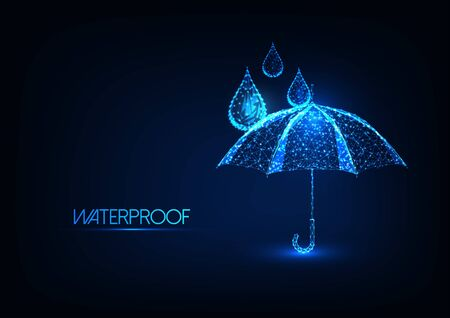 Futuristic glowing low polygonal umbrella and water drops isolated on dark blue background. Waterproofing concept. Modern wire fr