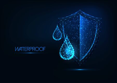Futuristic waterproofing concept. Glowing low polygonal water drops and shield on dark blue background. Water repellent material. Modern wireframe design vector illustration.