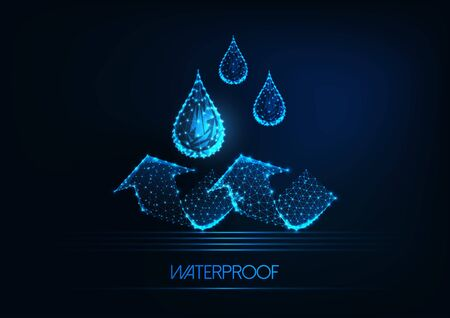 Futuristic waterproofing concept. Glowing low poly water drops and arrows on dark blue background.