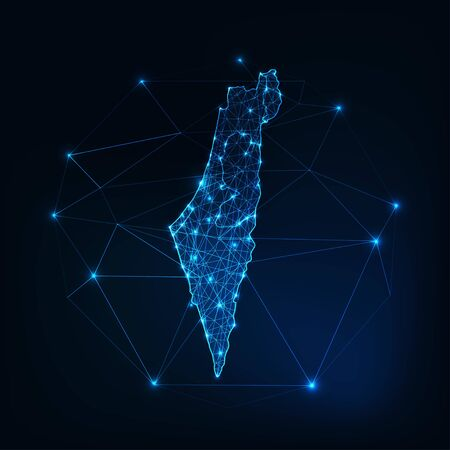 Israel map outline with stars and lines abstract framework. Communication, connection concept. Modern futuristic low polygonal, wireframe, lines and dots design. Vector illustration. Vektoros illusztráció