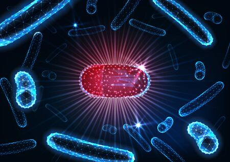 Antibiotics pills in bacteria medium concept. Futuristic glowing low polygonal drug capsule among bacilli microorganisms on dark blue background. Bacterial infection treatment. Vector illustration.