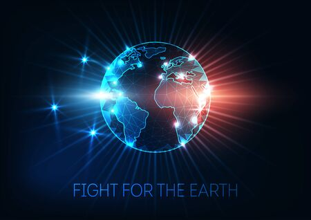 Fight for the Earth, climate change, global warming concept with futuristic glowing low polygonal World map globe, rays, stars, sparkles. Modern wireframe design vector illustration.
