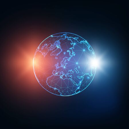 Futuristic glowing low polygonal planet Earth globe map with red and blue sparkles, stars, or expositions isolated on dark blue background. Business communication concept. Vector illustration.