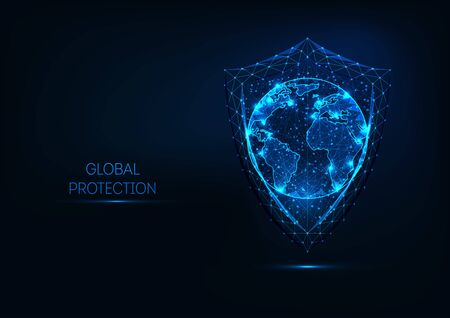 Futuristic glowing low polygonal shield wand planet earth globe map isolated on dark blue background. Global data protection concept. Modern wireframe design vector illustration.
