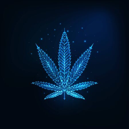 Futuristic glowing low polygonal cannabis leaf made of lines, dots, stars, triangles, light spots isolated on dark blue background. Modern wire frame design vector illustration.
