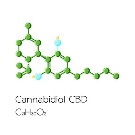 Cannabidiol structural molecular formula and text isolated on white background. Ilustracja