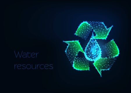 Futuristic glowing low polygonal green recycle sign with water drop isolated on dark blue background. Water resources, purification, filtration concept. Modern wire frame design vector illustration. Illusztráció