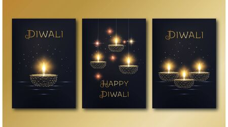 Happy diwali posters template set with golden glowing low poly oil lamp diya on black background. 일러스트