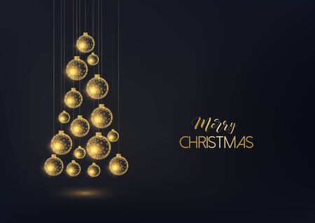 Merry Christmas greeting card template with hanging golden decorative baubles in a form of Christmas tree and text on black background. Modern low polygonal design vector illustration. Ilustração