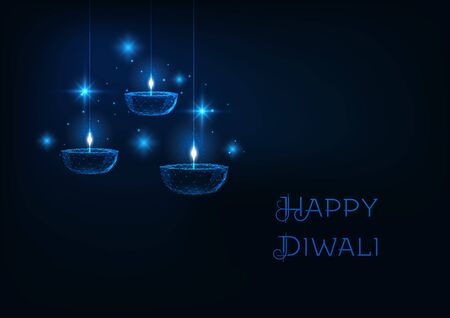 Happy diwali web banner template with futuristic glowing low polygonal oil lamp diya, stars and text on dark blue background. Modern wire frame mesh design vector illustration.